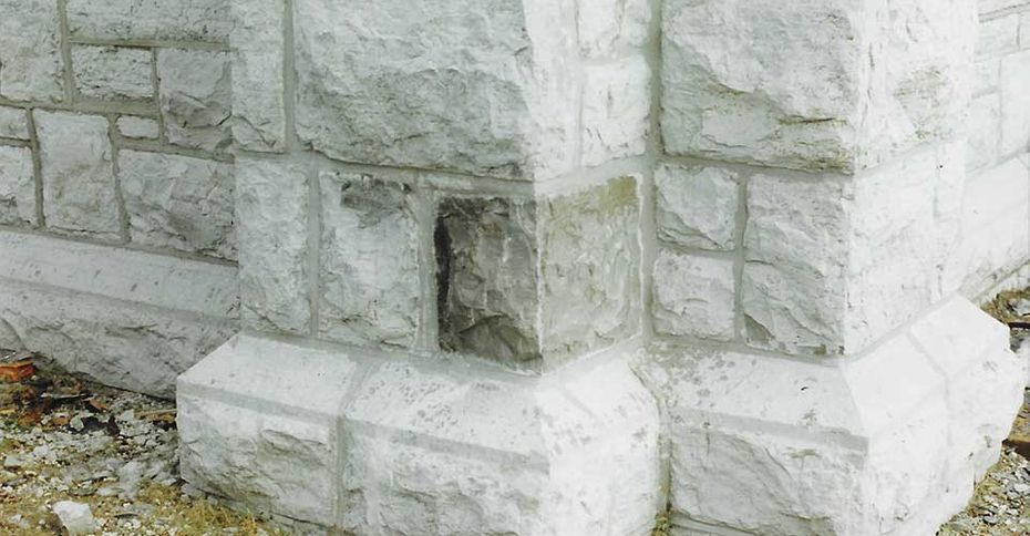 Custom limestone. New stone made for church repair.