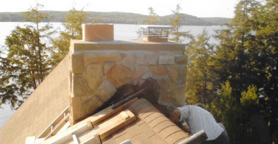 During cultured stone repair at Lake of Bays. What a view!